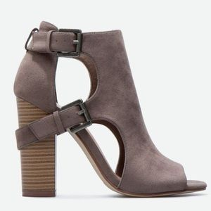 Taupe Suede Open Toe Casual Buckle Bootie